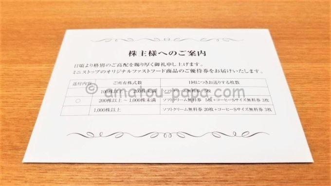 ミニストップ株式会社の株主優待券が入っている封筒
