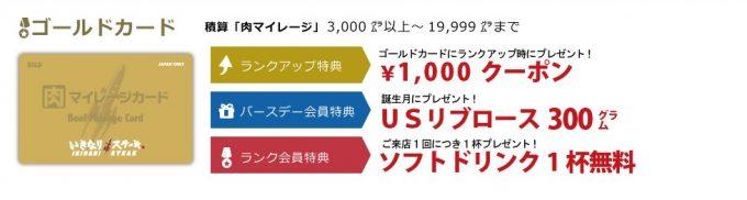 いきなり!ステーキのゴールドカード(肉マイレージカード)