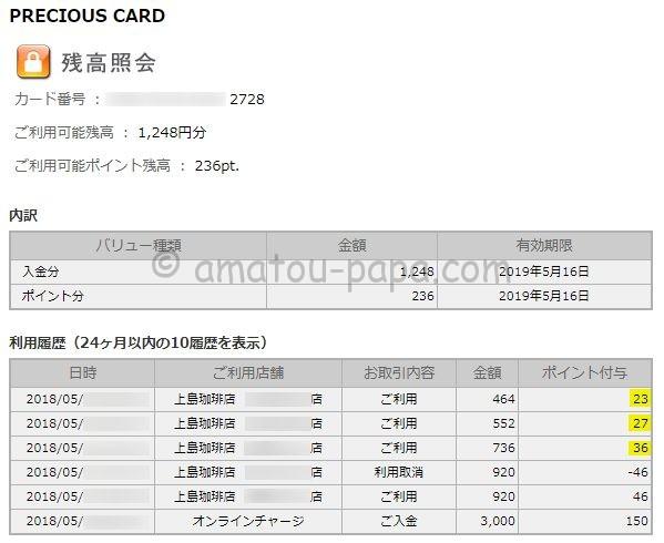 PRECIOUS CARD(プレシャスカード)の残高照会・利用履歴