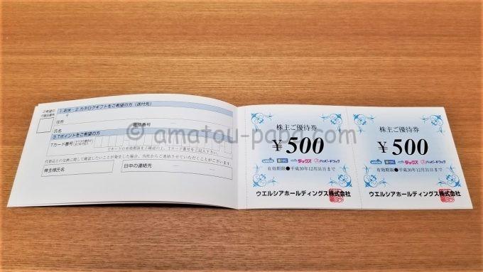 ウエルシアホールディングス株式会社の株主ご優待券(500円券)