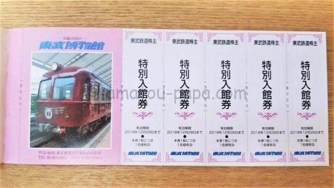 東武博物館の東武鉄道株主特別入館券