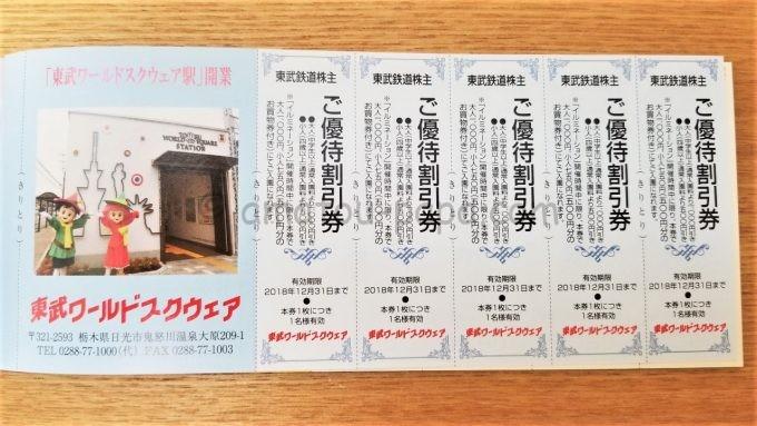 東武ワールドスクウェアの東武鉄道株主ご優待割引券
