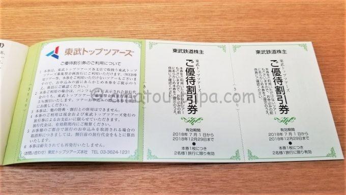 東武トップツアーズの東武鉄道株主ご優待割引券