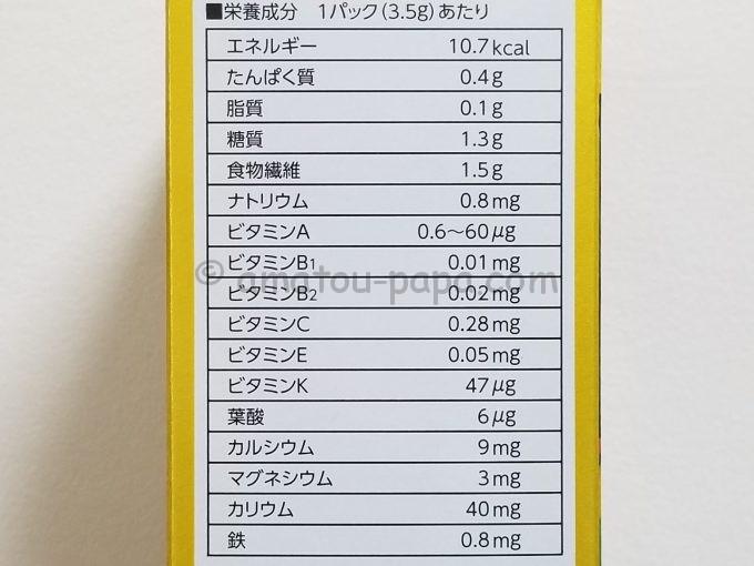 青汁の箱に印刷してある栄養成分表