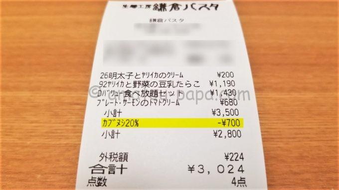 鎌倉パスタで株主優待カードを利用した時のレシート