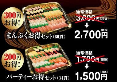 くら寿司のお持ち帰りセット(まんぷくお得セット・パーティーお得セット)