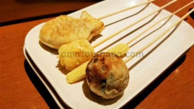 串家物語の串カツ(ミニたい焼き、ハッシュドポテト、ヤングコーン、たこ焼き)