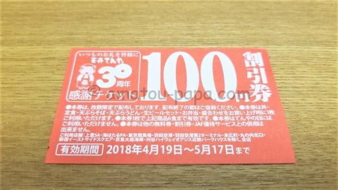 天丼てんやの100円割引券