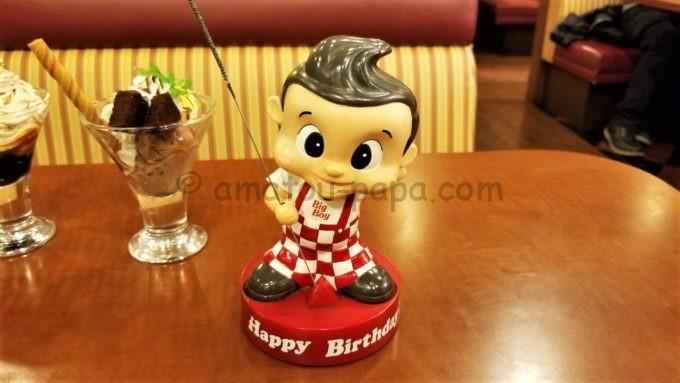 ビッグボーイの誕生日キッズ特典でデザートと一緒に出てくるキャラクターのボビー