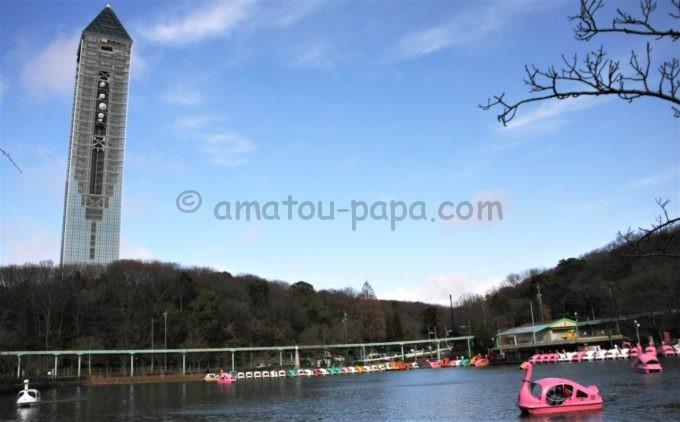 東山動植物園の湖と東山スカイタワー