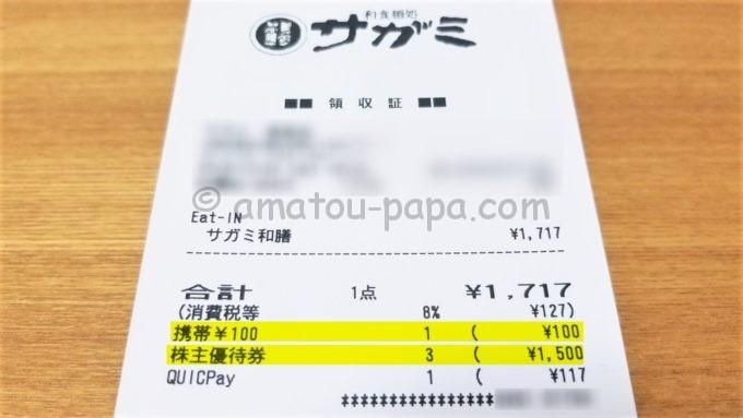 和食麺処サガミのレシート