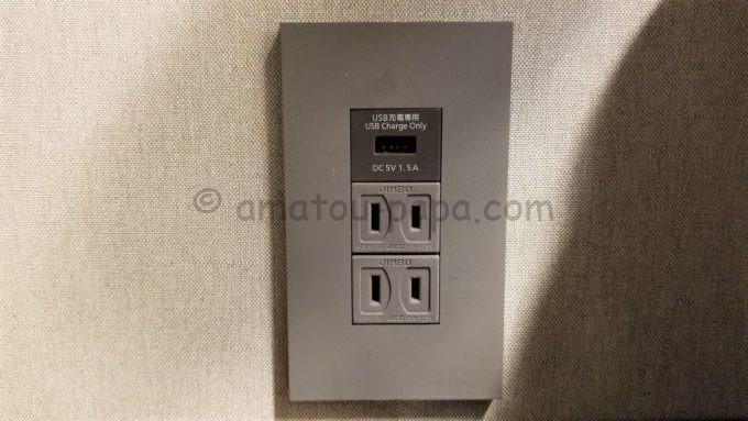 センターホテル東京のコンセント(USB付き)