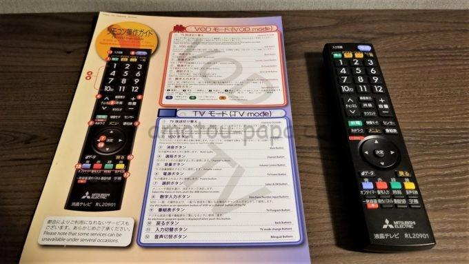 センターホテル東京のテレビリモコンと説明書