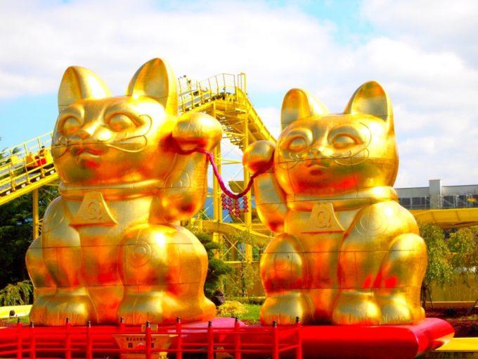 ナガシマスカから見える黄金の招き猫