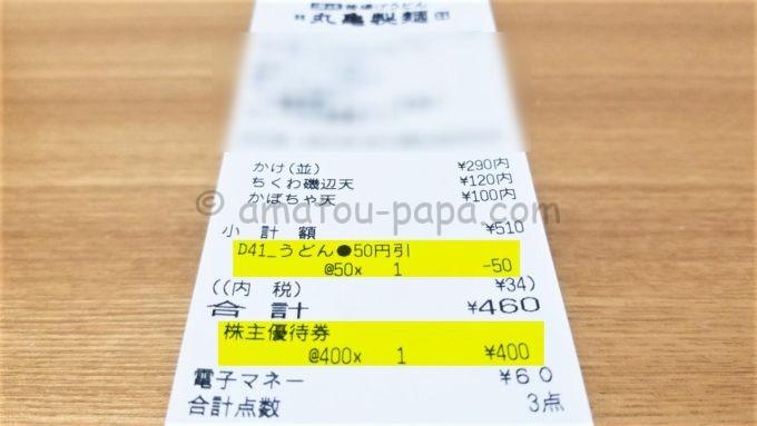 丸亀製麺のレシート(株主優待&50円割引)