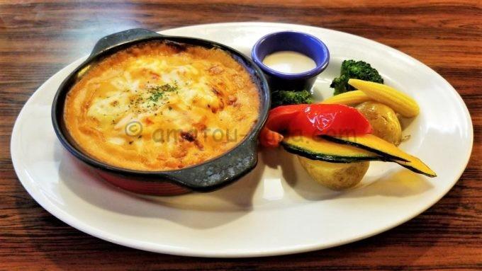 レッドロブスターのロブスターソースのドリアとグリル野菜