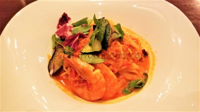 東京ディズニーシーのレストラン「リストランテ・ディ・カナレット」のスパゲッテーニ、ソフトシェルシュリンプのトマトソース