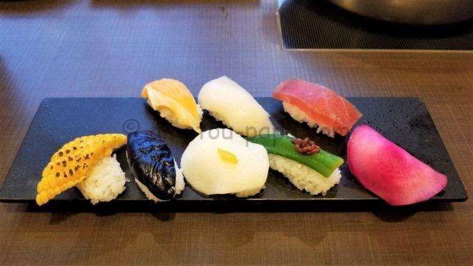 ゆず庵の野菜寿司五種盛り