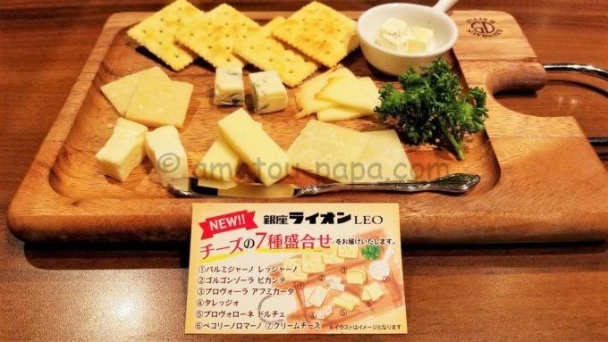 銀座ライオンのチーズの盛り合わせ