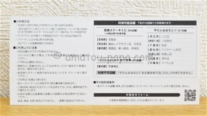ペッパーフードサービスのGroupon割引チケット(裏側)
