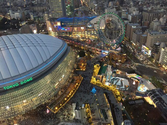 東京ドームシティの空撮