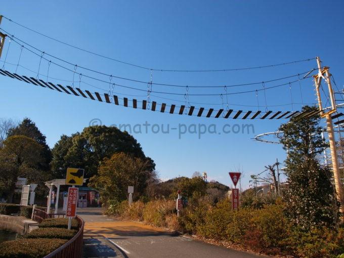 日本モンキーパークの猿の橋