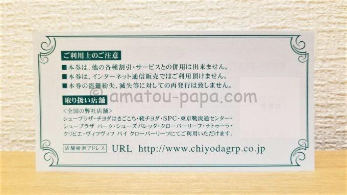 株式会社チヨダの20%OFF株主優待券(裏面)