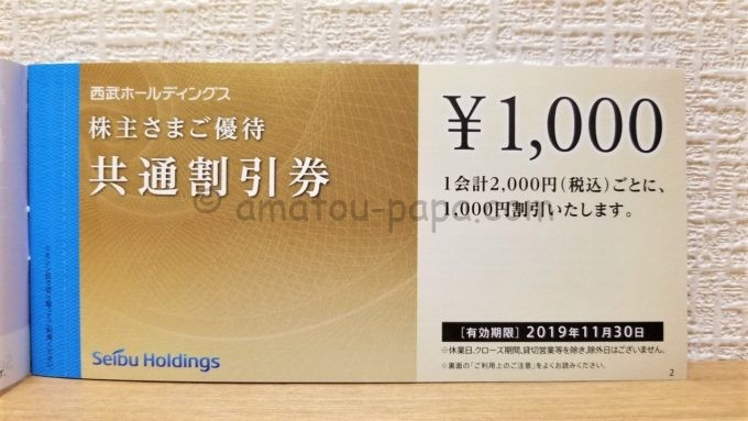 株式会社西武ホールディングスの株主優待券「1,000円共通割引券」
