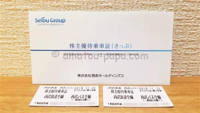 株式会社西武ホールディングスの株主優待乗車証(きっぷ)