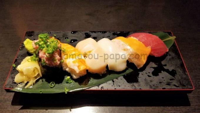 「いろはにほへと」の名物 いろは寿司六貫