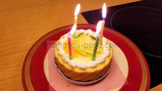 木曽路の誕生日(記念日)コースのケーキ(ロウソク付き)