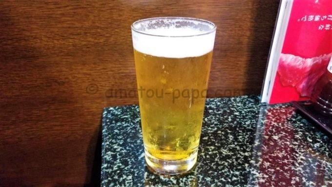 あみやき亭のビール