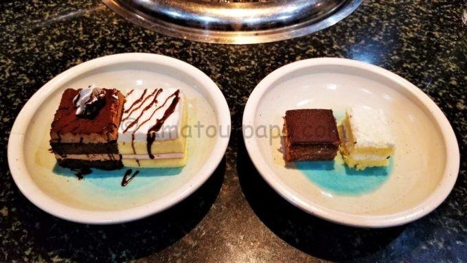 あみやき亭の誕生日ケーキとデザートバーのケーキの比較