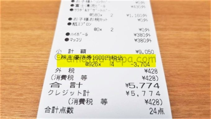 あみやき亭のレシート(株主優待券利用分)