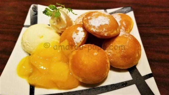 海鮮居酒屋はなの舞のマンゴー香るたっぷりホイップのプチパンケーキ