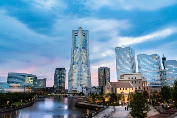 横浜ランドマークタワーからの夕景