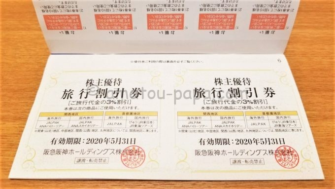 阪急阪神ホールディングス株式会社のグループ優待券(旅行割引券)