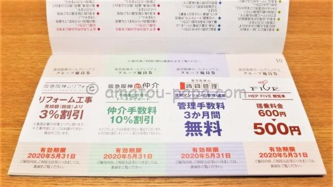 阪急阪神ホールディングス株式会社のグループ優待券(阪急阪神のリフォーム・仲介・賃貸管理、HEP FIVE 観覧車の優待券)