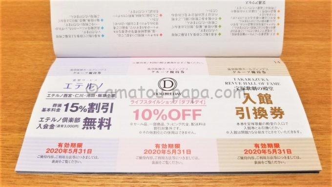 阪急阪神ホールディングス株式会社のグループ優待券(エテルノ・ダブルデイの割引券、宝塚歌劇の殿堂入館引換券)