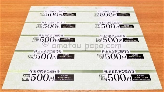 株式会社一家ダイニングプロジェクトの株主優待券(お食事ご優待券)5,000円分