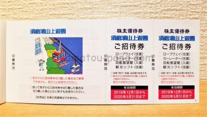 山陽電気鉄道株式会社の株主優待券(須磨浦山上遊園招待券)
