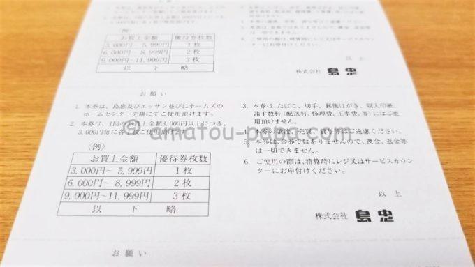 株式会社島忠の300円のお買物ご優待券の裏面
