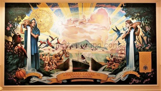 S.S.コロンビア・ダイニングルームにあるPANAMA CANAL(パナマ運河)の絵画