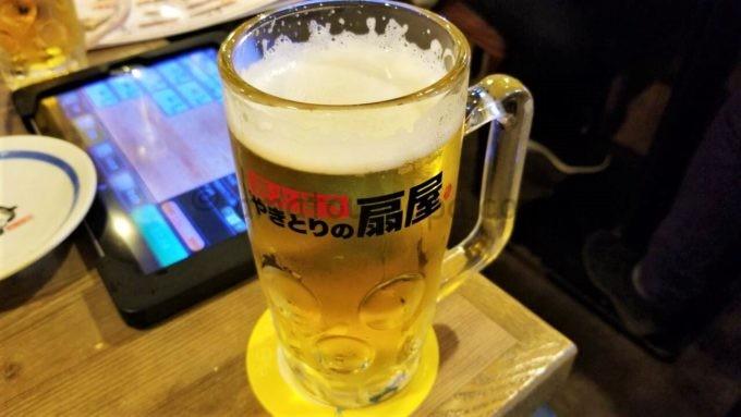 やきとりの扇屋のビール