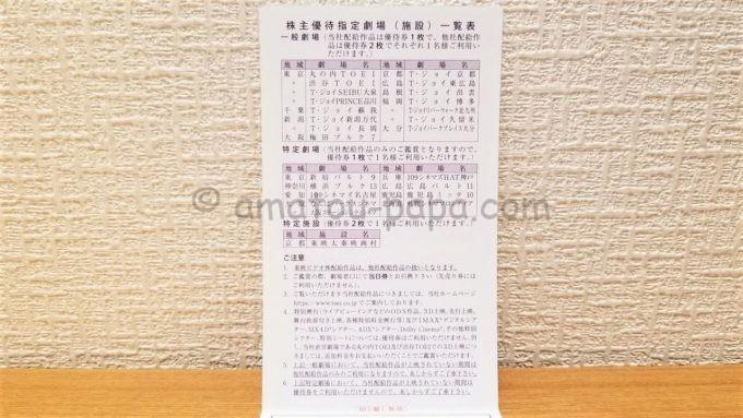 東映株式会社の株主優待劇場(施設)一覧表