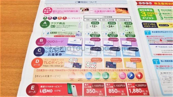 株式会社TOKAIホールディングスの株主優待品カタログ