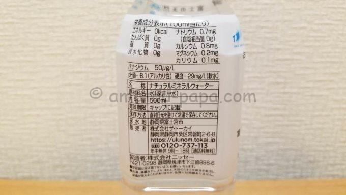 株式会社TOKAIホールディングスの株主優待品「富士の天然水 さらり」の成分表
