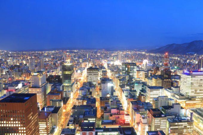 札幌 JRタワー展望室T38(タワー・スリーエイト)からの眺め(夜景)
