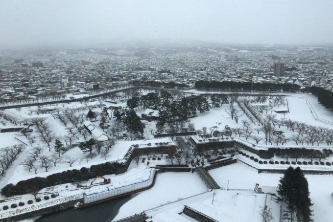 五稜郭タワーからの眺め(冬の特別史跡五稜郭)