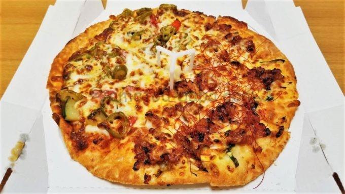 ピザハットのメキシカン辛ペーニョと特うまプルコギのハーフ&ハーフ